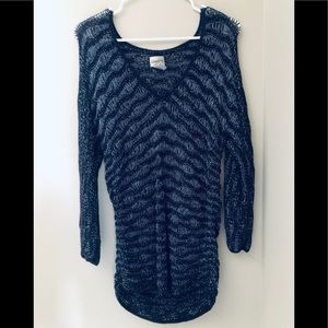 0 Chicos Open Chunky Knit Sweater Blue V-Neck